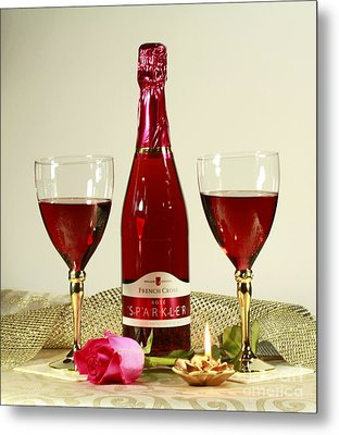 Celebrate With Sparkling Rose Wine Metal Print by Inspired Nature Photography Fine Art Photography