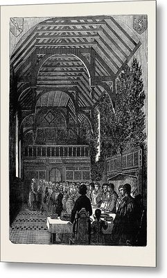 Celebration Of Palm Sunday In The Hall Of Sackville College Metal Print by English School