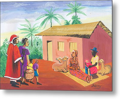 Metal Print featuring the painting Celebration Of The Nativity In Cameroon by Emmanuel Baliyanga