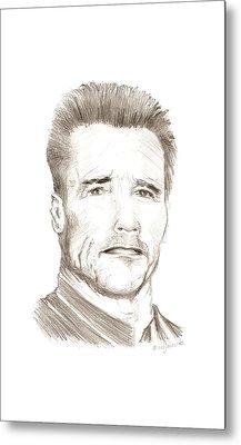 Arnold Schwarzenegger Pencil Portrait  Metal Print by Mario Perez