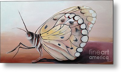 Metal Print featuring the painting Celine's Butterfly by Art Ina Pavelescu