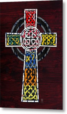 Celtic Cross License Plate Art Recycled Mosaic On Wood Board Metal Print by Design Turnpike