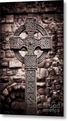 Celtic Cross Lindisfarne Priory Metal Print