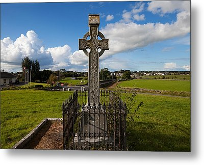 Celtic Cross Overlooking The Green Metal Print by Panoramic Images