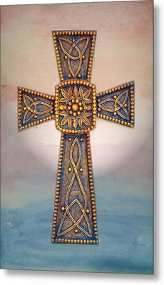 Celtic Cross Sunrise Metal Print by Sandi OReilly