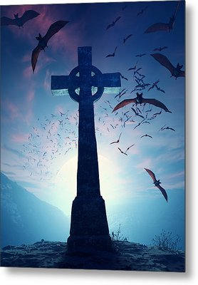 Celtic Cross With Swarm Of Bats Metal Print by Johan Swanepoel
