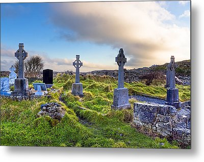 Celtic Crosses In An Old Irish Cemetery Metal Print by Mark E Tisdale