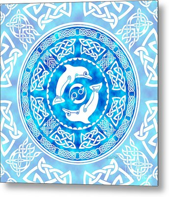 Metal Print featuring the mixed media Celtic Dolphins by Kristen Fox