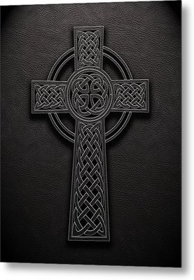 Metal Print featuring the digital art Celtic Knotwork Cross 1 Black Leather Texture by Brian Carson