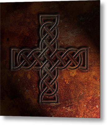 Celtic Knotwork Cross 2 Rust Texture Metal Print by Brian Carson