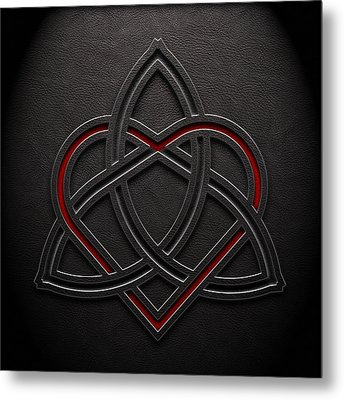 Metal Print featuring the digital art Celtic Knotwork Valentine Heart Leather Texture 1 by Brian Carson