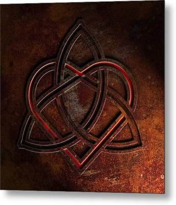 Celtic Knotwork Valentine Heart Rust Texture 1 Metal Print by Brian Carson