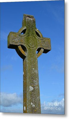 Celtic Stone Cross In Ireland Metal Print