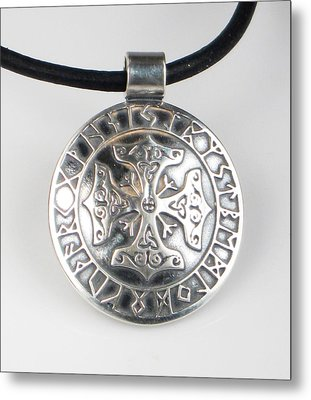 Metal Print featuring the jewelry Celtic Viking Cross Rune Calendar by Vagabond Folk Art - Virginia Vivier