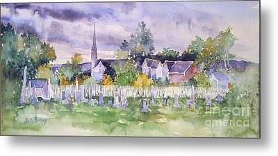 Metal Print featuring the painting Cemetary Watercolor by Sally Simon