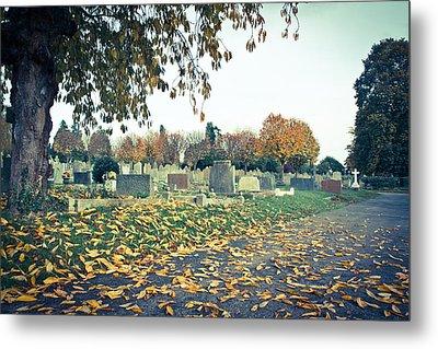 Cemetery In Autumn Metal Print