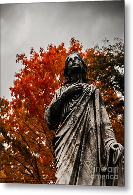 Cemetery In Fall Metal Print by Sonja Quintero