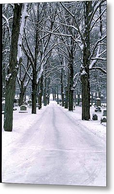 Cemetery In Snow Metal Print by Gail Maloney