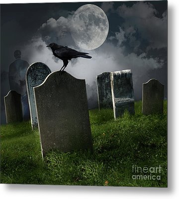 Cemetery With Old Gravestones And Moon Metal Print