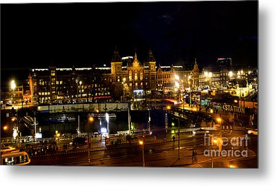 Centraal Station At Night Metal Print by Pravine Chester