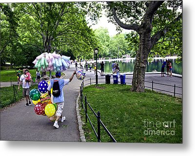 Central Park Balloon Man Metal Print by Madeline Ellis