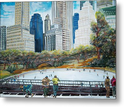 Central Park Ice Rink Metal Print by Mitchell McClenney