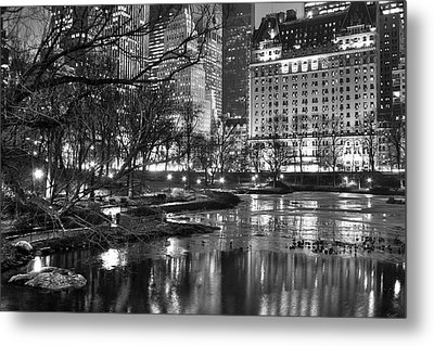 Central Park Lake Night Metal Print by Dave Beckerman