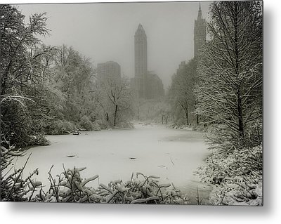 Metal Print featuring the photograph Central Park Snowstorm by Chris Lord