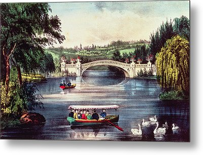 Central Park   The Bridge  Metal Print by Currier and Ives
