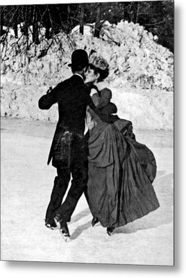 Central Park Victorian Skaters  Metal Print by Underwood Archives