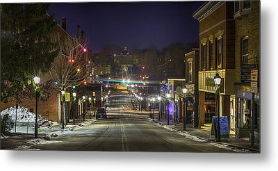 Metal Print featuring the pyrography Centre Street by David Hufstader