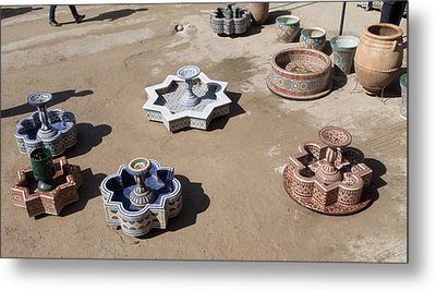 Ceramic Fountains In Yard Of Pottery Metal Print