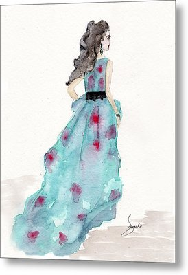 Cerulean Blue Fashion Sketch Dress Metal Print