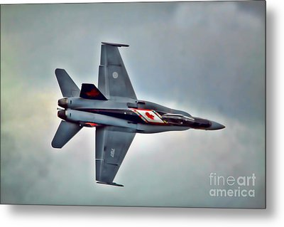 Metal Print featuring the photograph Cf18 Hornet Topview Flying by Cathy  Beharriell