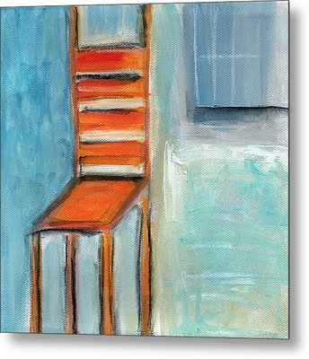 Chair By The Window- Painting Metal Print by Linda Woods