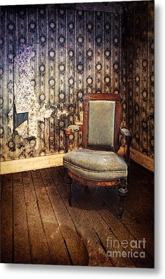 Chair In Abandoned Room Metal Print by Jill Battaglia