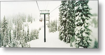 Chair Lift And Snowy Evergreen Trees Metal Print