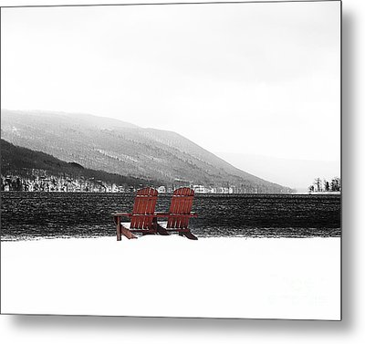 Chairs At Canandaigua Lake 2011 Metal Print by Joseph Duba
