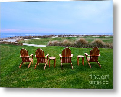 Chairs At The Eighteenth Hole Metal Print