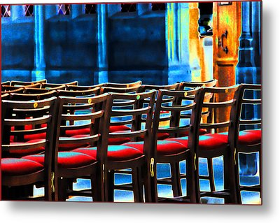 Metal Print featuring the photograph Chairs In Church by Oscar Alvarez Jr