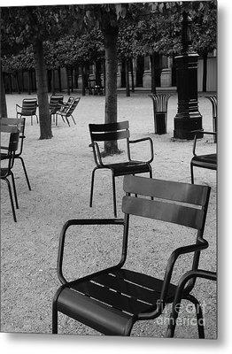 Chairs In Palais Royal Garden In Paris Metal Print by Design Remix