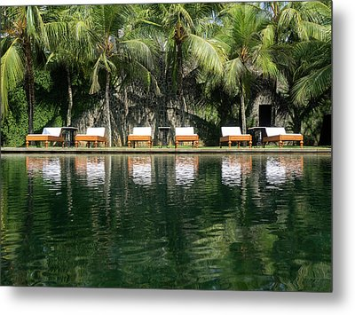 Chaise Lounger Reflected In Pool Metal Print by Panoramic Images