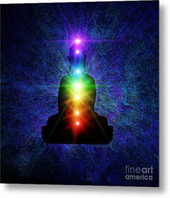 Chakra Buddha Metal Print by Tim Gainey