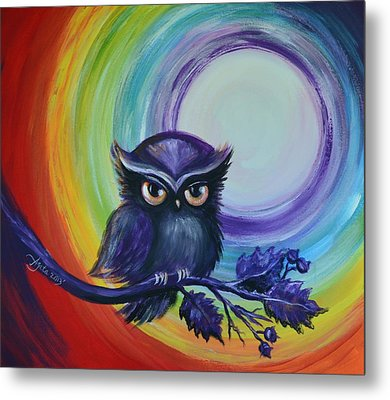Metal Print featuring the painting Chakra Meditation With Owl by Agata Lindquist