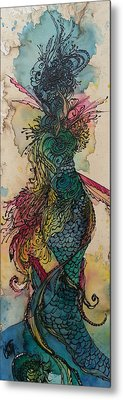 Metal Print featuring the painting Chakra Mermaid by Christy  Freeman