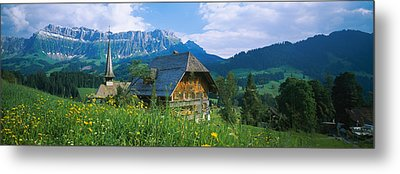 Chalet And A Church On A Landscape Metal Print by Panoramic Images