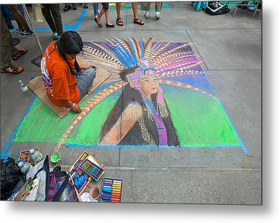Metal Print featuring the photograph Pasadena Chalk Art - Street Photography by Ram Vasudev