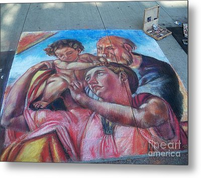 Chalk Painting By Street Artist Metal Print