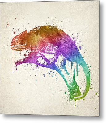 Chameleon Splash Metal Print by Aged Pixel
