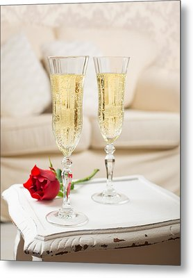 Champagne And Rose Metal Print by Amanda Elwell